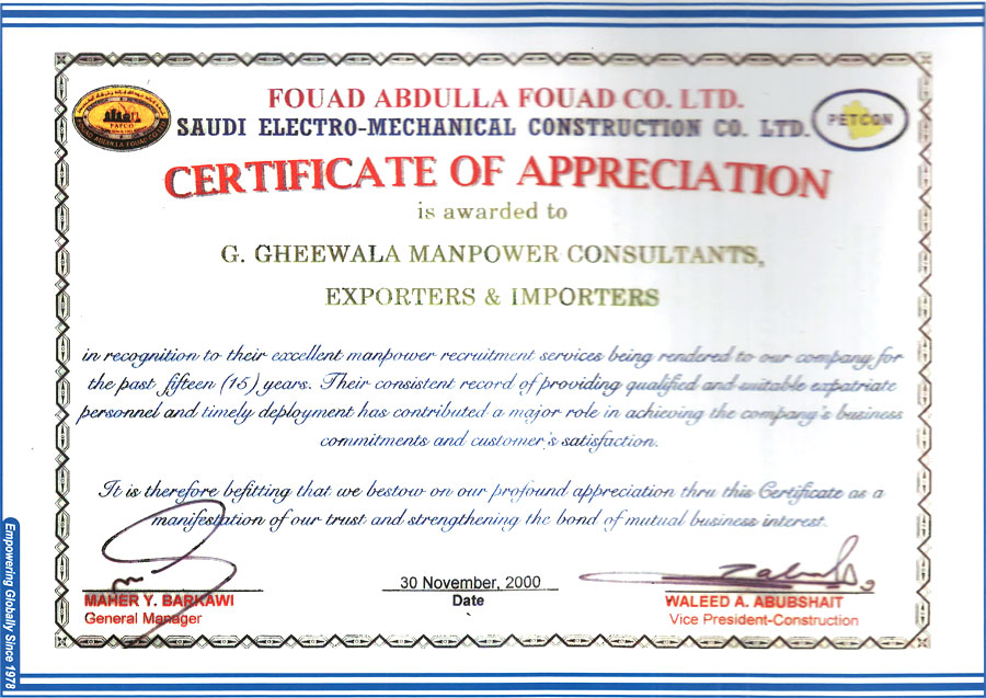 Certifications | Employers | G Gheewala